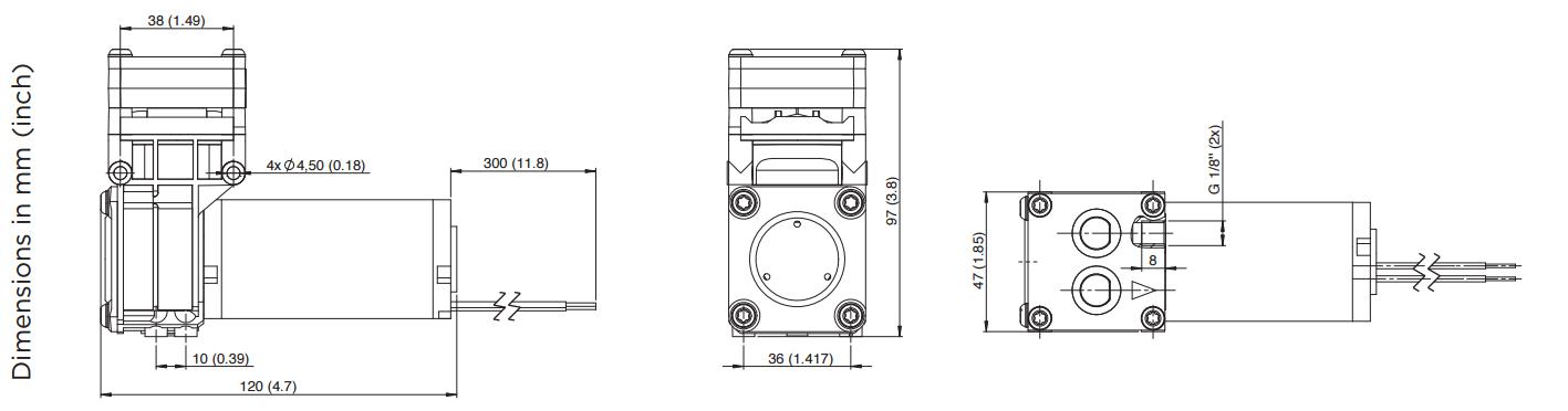 Membranpumpe 1610 | 7,9 l/min | 1,8 bar | -900 mbar | 24V