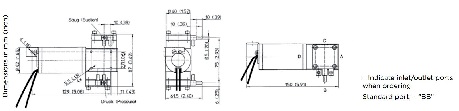 Membranpumpe 7011 | 11 l/min | 2,3 bar | -730 mbar | 12V