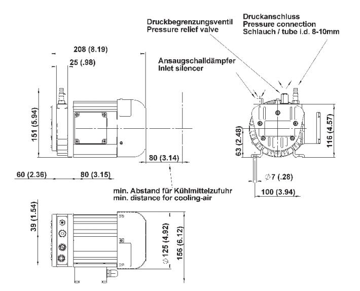 Drehschieberpumpe PICOLINO DTE 3 m³/h | 58 l/min | 1 bar | 3p