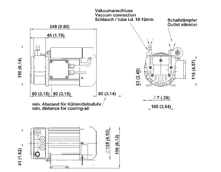 Drehschieberpumpe PICOLINO VTE 8 | 133 l/min | -850 mbar | 230V