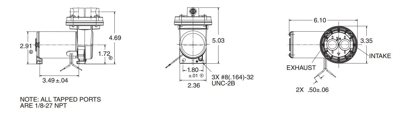 Membranpumpe 007 | 32,5 l/min | -780 mbar | 24V - Metzger Technik