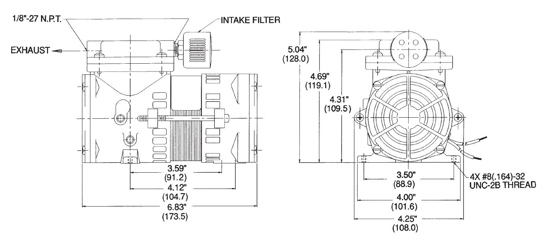 Membranpumpe 107 | 18,4 l/min | 1,4 bar | -746 mbar | 230V