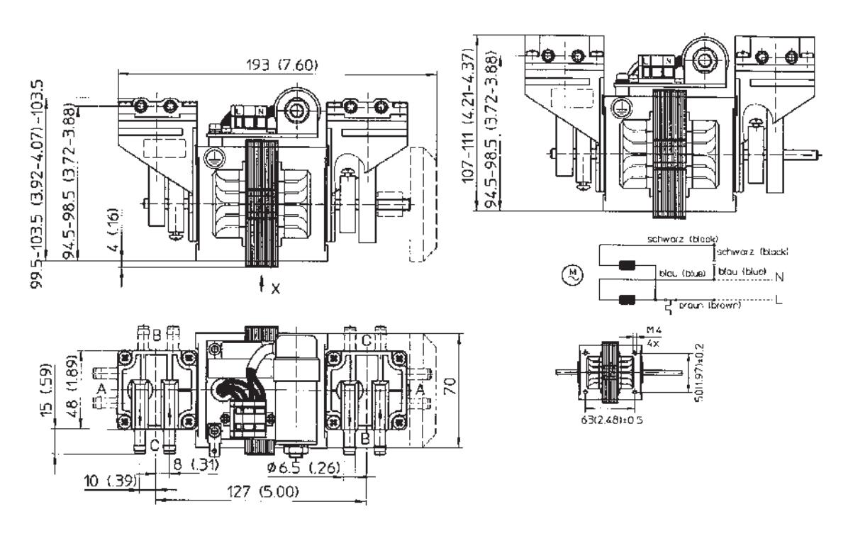 Piston Pump 8006zv 29 L Min 800 Mbar 230v Oil Free Gardner Denver Motor Wiring Diagram Dimensions Wob 30 45 V