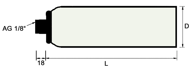 Druck-Vakuumbehälter Außengewinde 1/8\